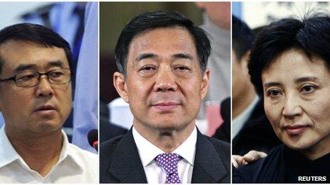 File photo: combination photo of Wang Lijun (left), Bo Xilai (centre) and Gu Kailai