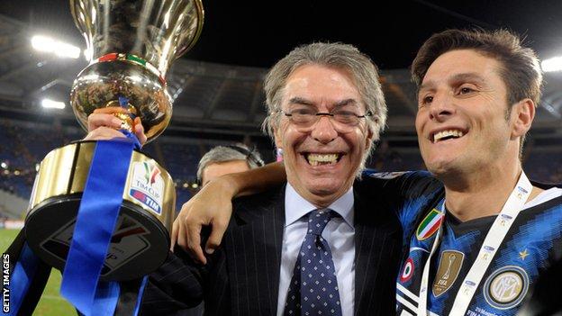Massimo Moratti and Inter Milan skipper Javier Zanetti in 2011