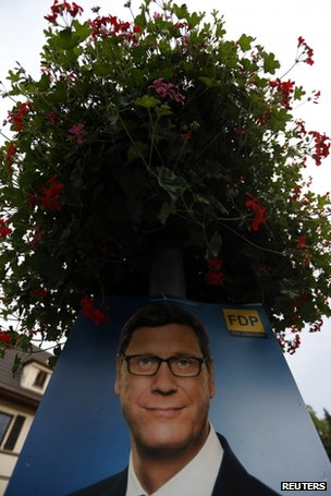 Poster of FDP leader Guido Westerwelle in Bad Honnef, near Bonn
