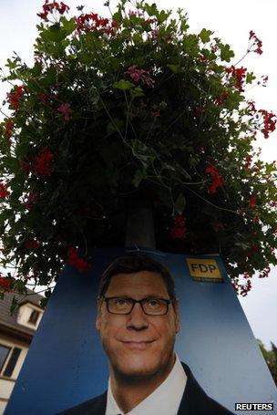 Poster of FDP leader Guido Westerwelle in Bad Honnef, near Bonn