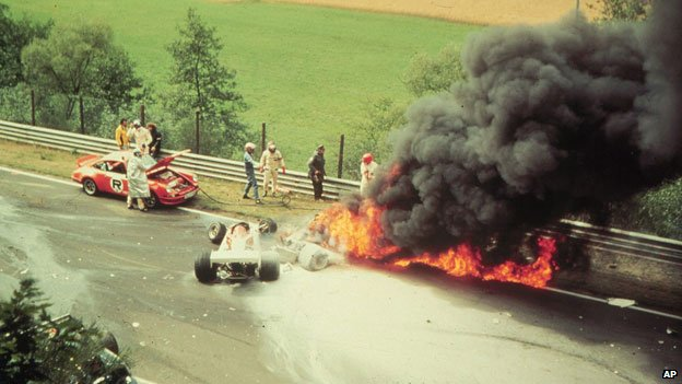 Niki Lauda was pulled from his burning car at Nurburgring in 1976