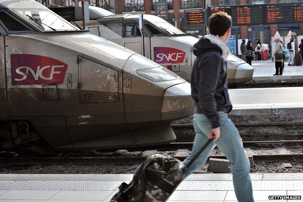 TGV standing on platform at Lille