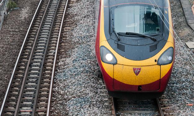 Virgin train arriving at Euston