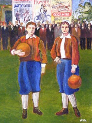 Painting of British Ladies Team players