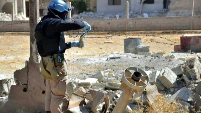 Samples being collected from site of alleged chemical attack in Syria