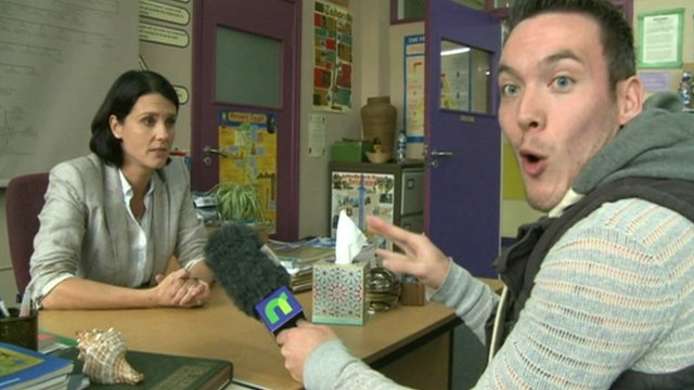 Martin on the set of Waterloo Road