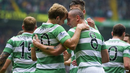 Celtic striker Teemu Pukki is congratulated on his goal