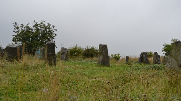 The 17 standing stones look part of the Glasgow landscape