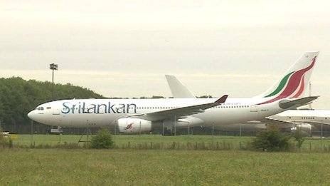 Sri Lankan Airlines plane at Stansted Airport