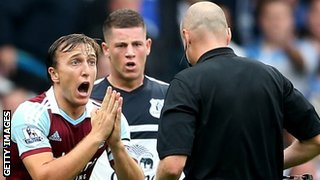 West Ham midfielder Mark Noble was sent off