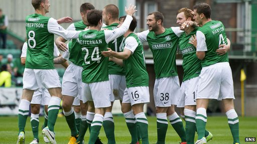 Hibs celebrate one of their two goals in the victory against St Mirren