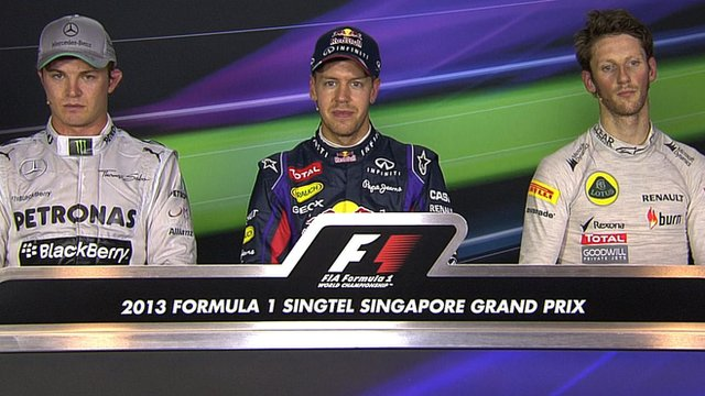 Nico Rosberg, Sebastian Vettel and Romain Grosjean