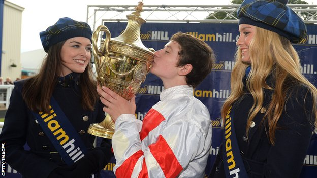 Oisin Murphy celebrates his Ayr Gold Cup victory