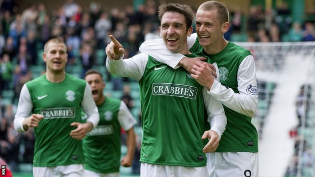 Paul Heffernan celebrates after scoring Hibernian's second goal
