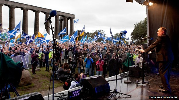 First Minister Alex Salmond addresses the crowd at the Calton Hill rally