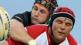 Connacht's Craig Clarke and Johann Muller of Ulster