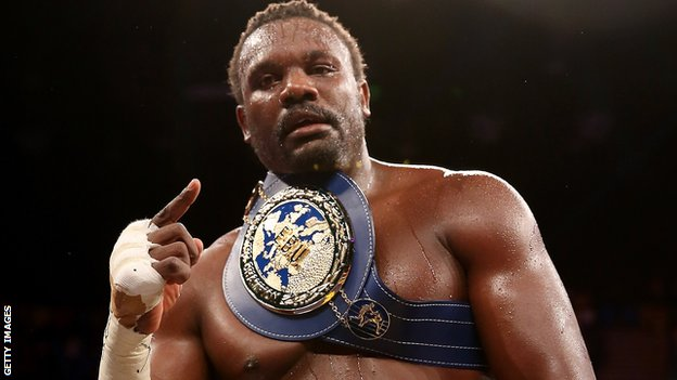 Dereck Chisora celebrates his victory over Edmund Gerber