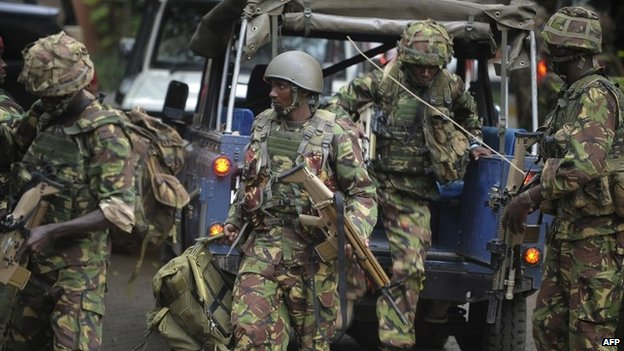 Soldiers from a special unit arrive outside the Westgate shopping mall