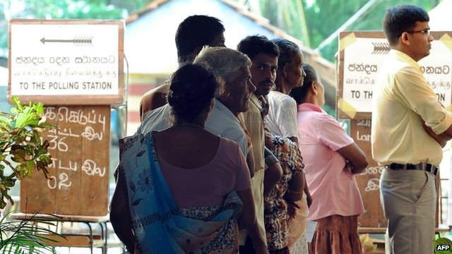 Queue at polling station