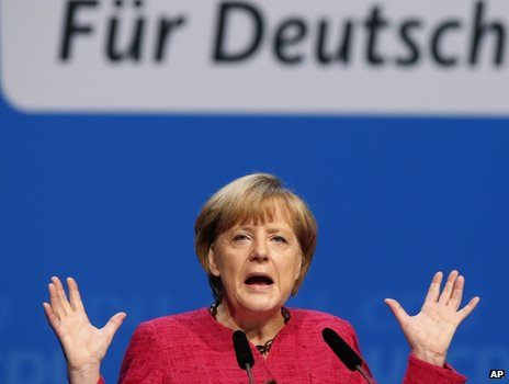 German Chancellor and chairwoman of the German Christian Democratic party (CDU) Angela Merkel speaks during the last stage of the election campaign in Berlin on Saturday, 21 September, 2013.