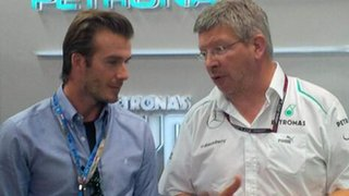 David Beckham and Ross Brawn