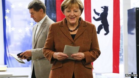 Angela Merkel votes in Berlin, 22 September