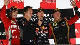 Fernando Alonso, Christian Horner, Sebastian Vettel and Kimi Raikkonen