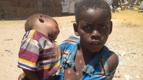 Children at a camp for internally displaced people on the edge of Kismayo