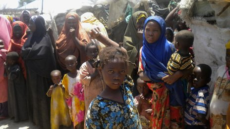 Women and children at a camp for internally displaced people on the edge of Kismayo