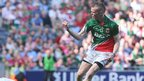 Darragh Doherty celebrates after scoring Mayo's second goal against Tyrone in Dublin
