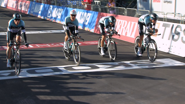 Omega Pharma Quick Step crossing the line