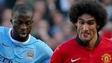 Manchester City's Yaya Toure and Manchester United Marouane Fellaini