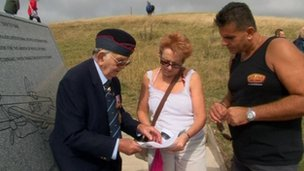 Joe Williams with visitors at Beachy Head Bomber Command Tribute