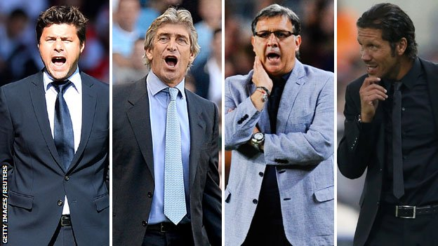 (left to right) Mauricio Pochettino, Gerardo Martino, Manuel Pellegrini and Diego Simeone