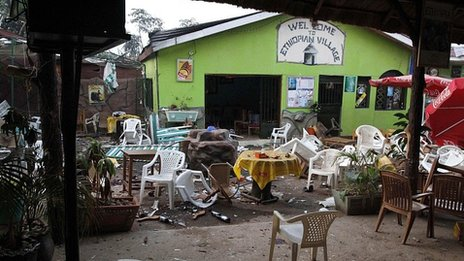 Scene at the Ethiopian Village restaurant in Kampala the morning after the blast