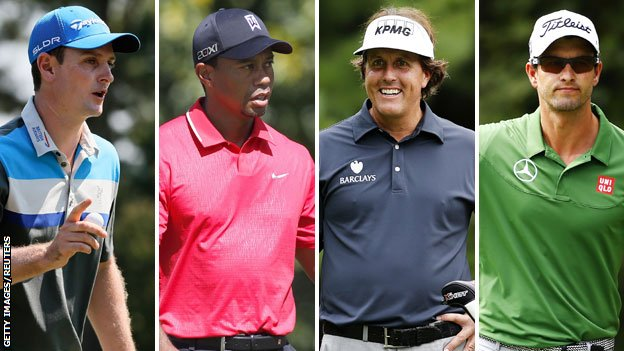 (left to right) Justin Rose, Tiger Woods, Phil Mickelson and Adam Scott