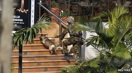 A soldier with an army dog walk up the steps to the shopping centre