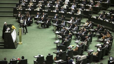 Hassan Rouhani addresses Iran's parliament (15 August 2013)
