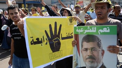 Protesters in Alexandria demand the reinstatement of Mohammed Morsi (20 September 2013)