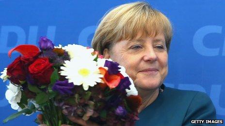Angela Merkel celebrates election victory, 23 Sep 13