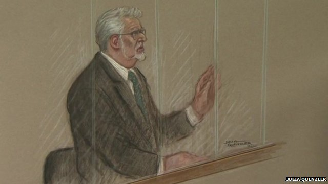 Rolf Harris in court, 23 Sept. 2013 (court drawing / sketch)
