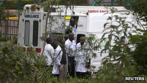 Medics on stand-by outside the Westgate shopping centre