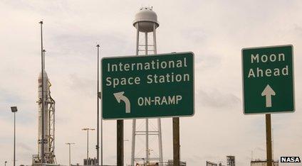 Signposts outside a Nasa space base