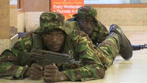 Kenyan soldiers inside the Westgate shopping centre 21 September