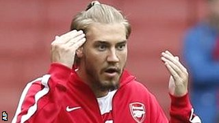 Nicklas Bendtner warms up for Arsenal against Stoke last weekend