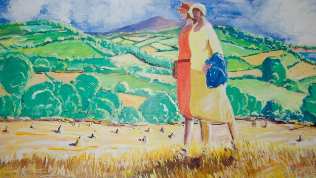 Painting of an Isle of Man tourism poster