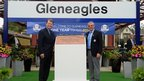 Captain Tom Watson and European Captain Paul McGinley unveil a Commemorative plaque at Gleneagles train station