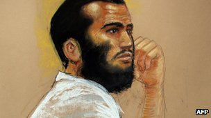 Canadian defendant Omar Khadr attends a hearing in the courthouse for the US military war crimes commission at the Camp Justice compound on Guantanamo Bay US Naval Base in Cuba 28 April 2010