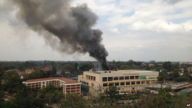 Heavy smoke rises from the Westgate Mall in Nairobi