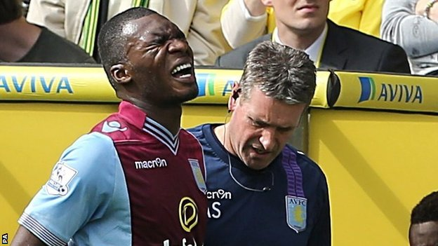 Christian Benteke limps off at Carrow Road